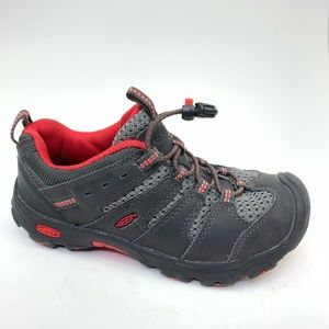 Keen Waterproof Leather Hiking Shoes Gray Red sz 1